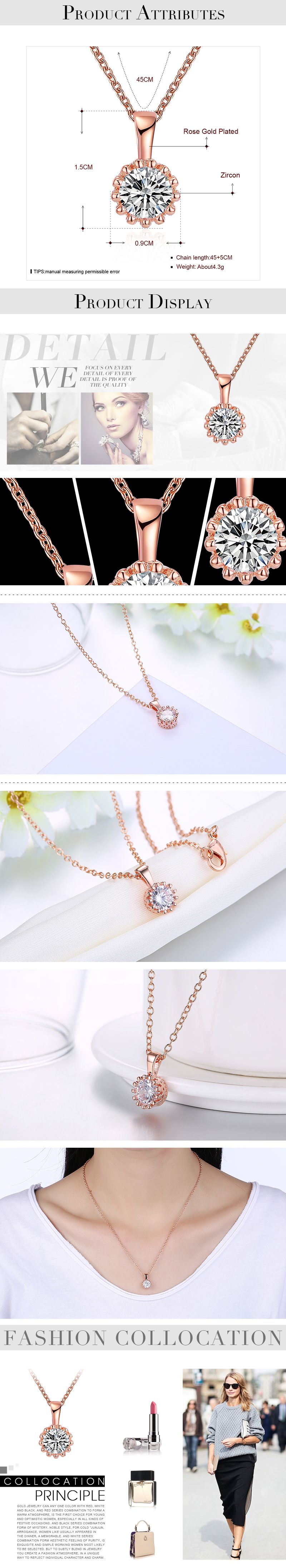 Rose Alloy  Fashionable K alloy fashionable necklace zircon plated rose alloy women necklace crossborder special offer NHKL12587