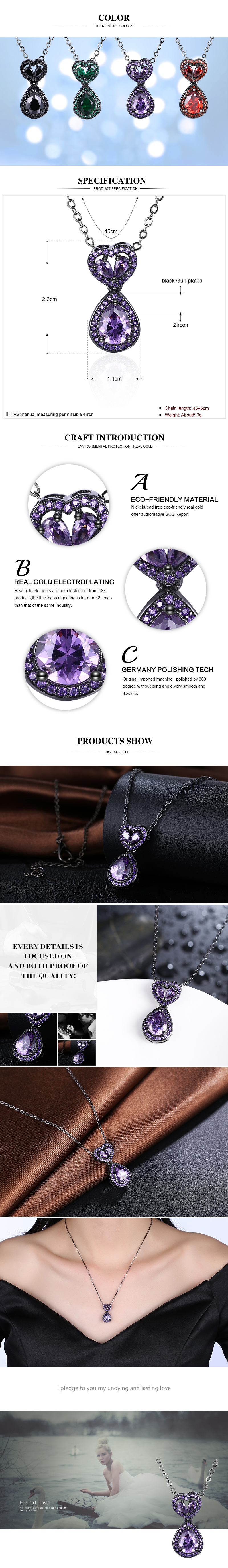 Black Gun Plated Necklaces NHKL12329-D