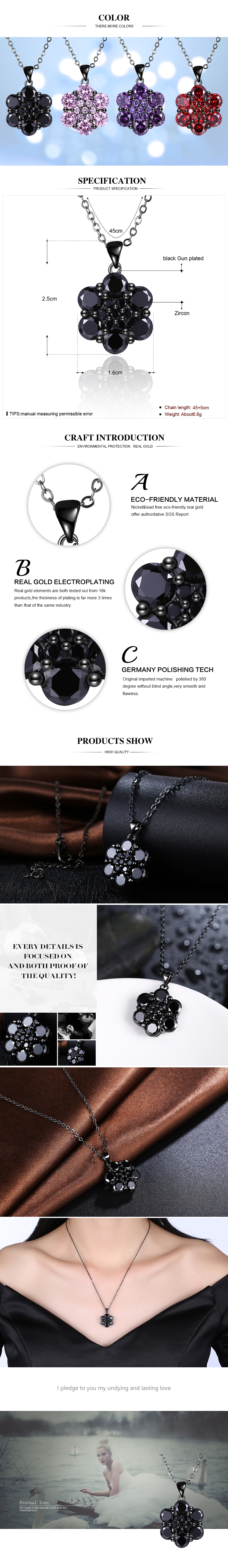Black Gun Plated Necklaces NHKL12341-D