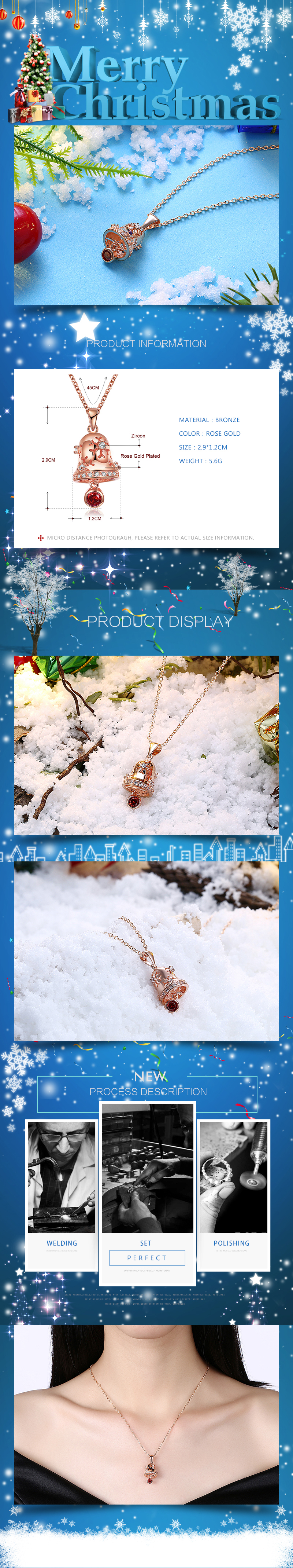 Rose Alloy Snowflake big flower fashion necklace Christmas zircon necklace 18 inches (rose alloy platinum) NHKL12592-B