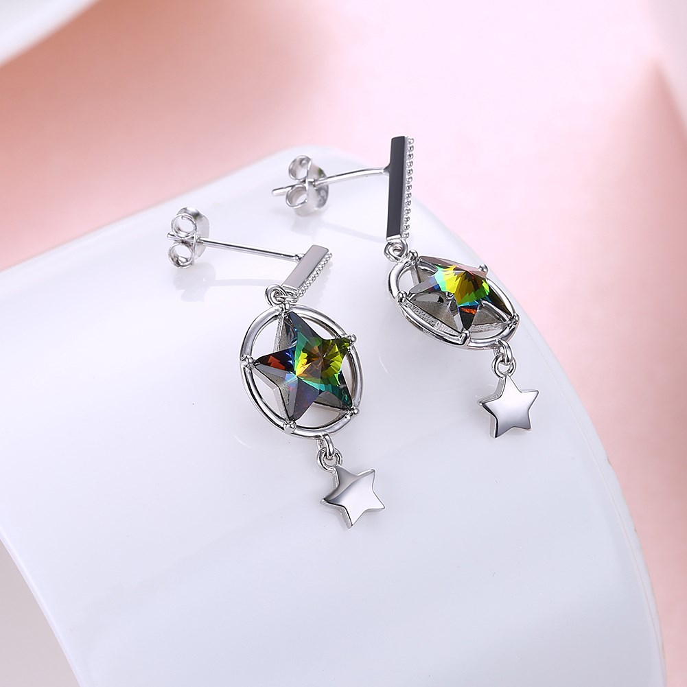 Platinum Plated  Dangle Earrings NHKL12760