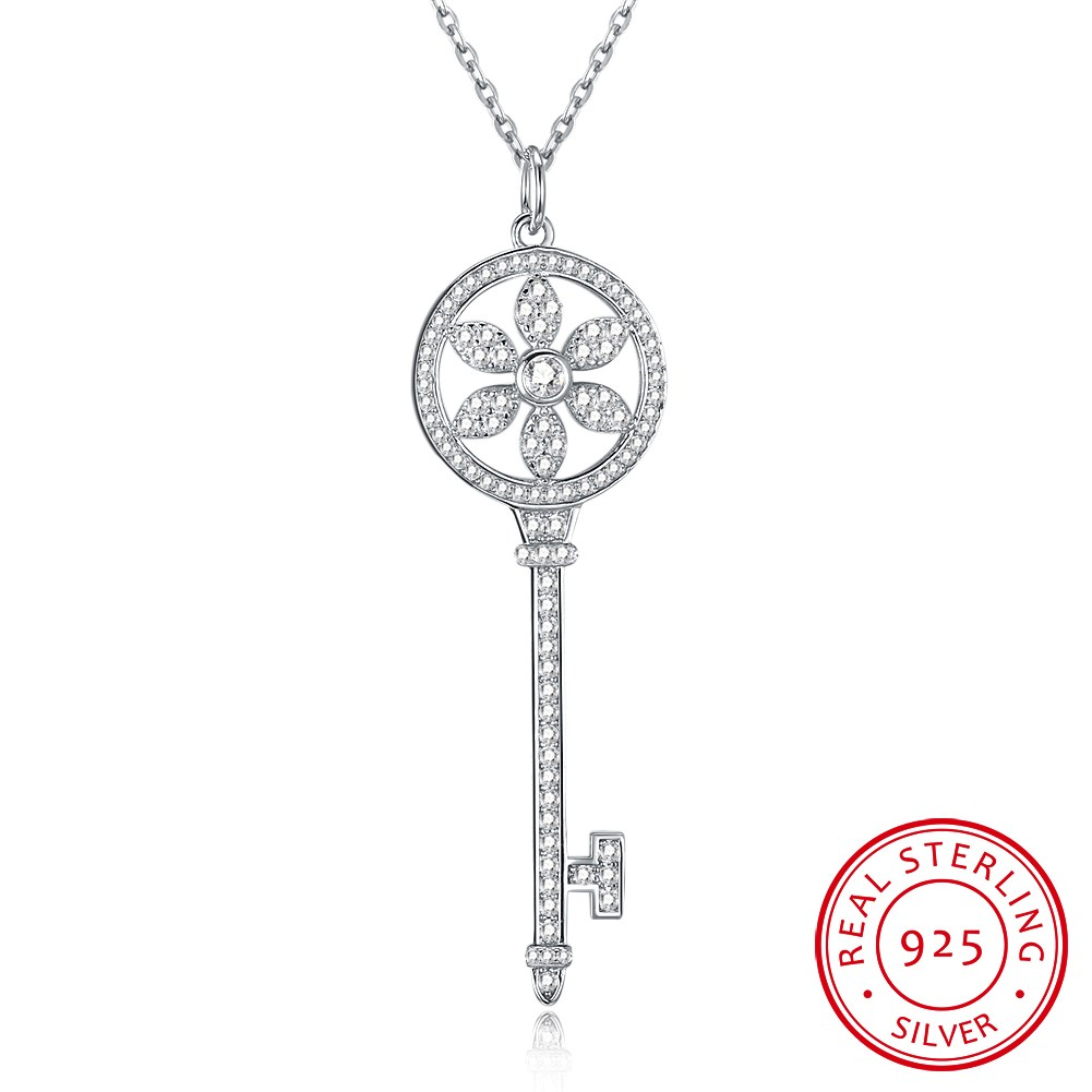 S925 fashion key is full of sterling silver pendant