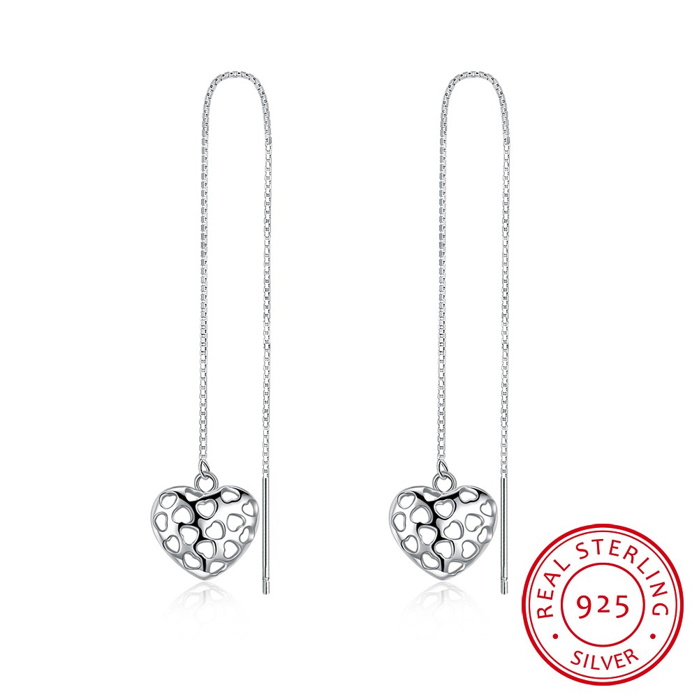 S925 fashion heart-shaped hollowed out 0.6mm box of pure silver and long earrings