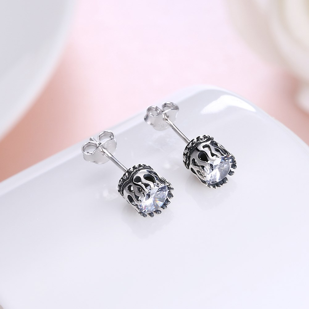 Antique Silver PlatedStud Earrings NHKL9987
