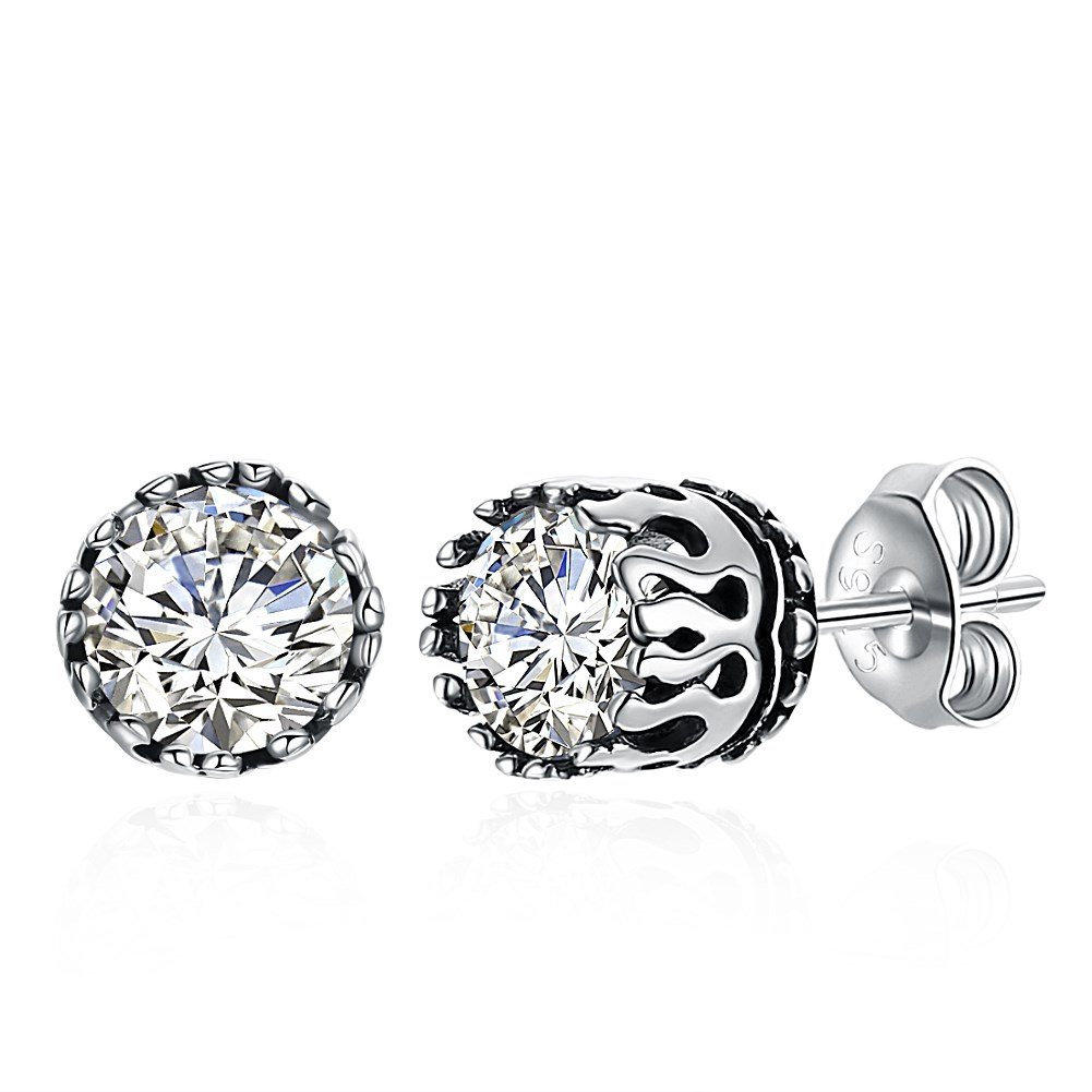 S925 vintage fashion single drill sterling silver stud earrings.
