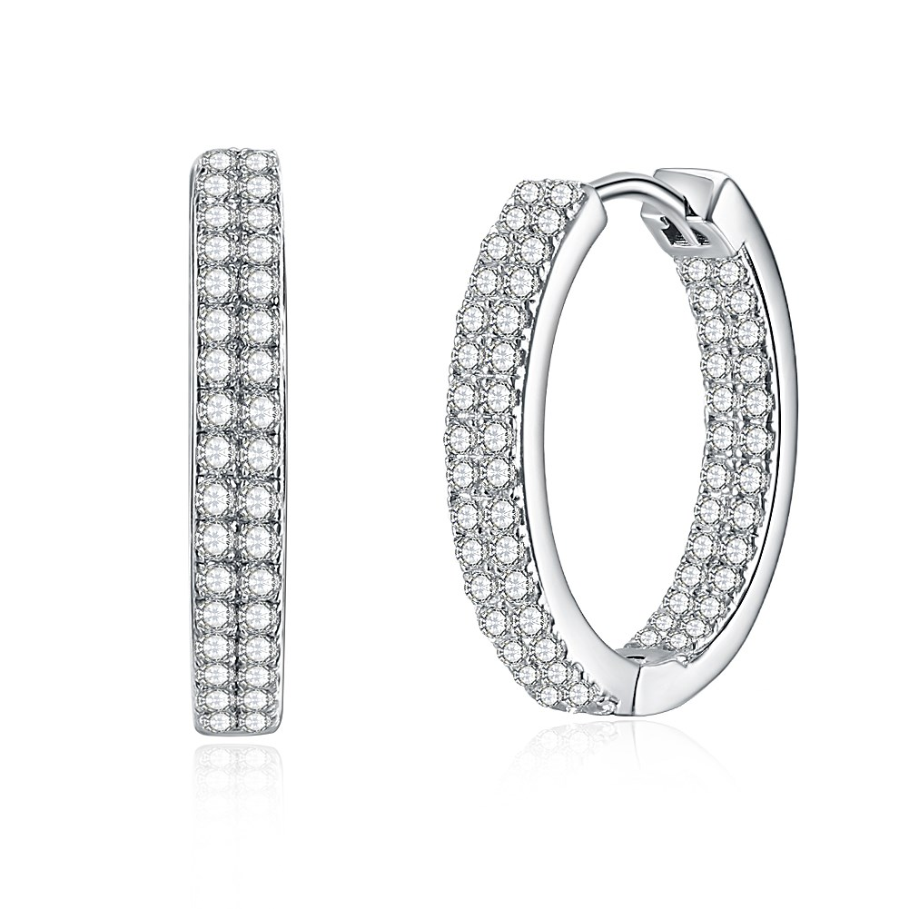 S925 round full diamond fashion trend female sterling silver earrings