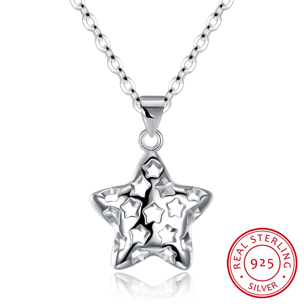925 sterling silver fashionable and simple star style hollow silver necklace