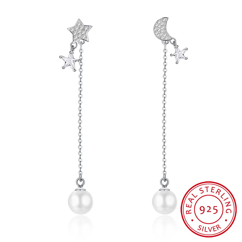 S925 pure silver star moon asymmetry 8mm pearl sterling silver ear nail