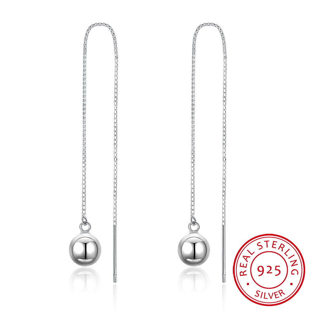 S925 pure silver 0.6 box, 3 inches long round beads earrings with pure silver earrings