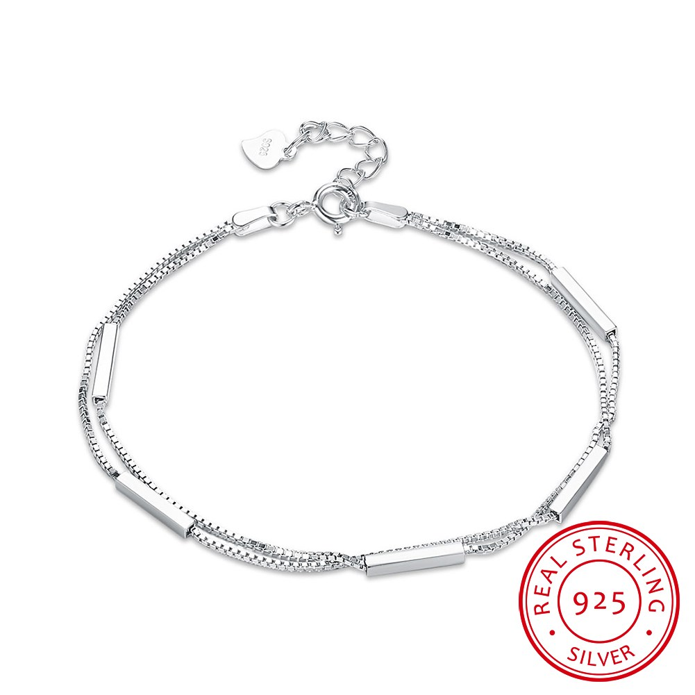 S925 pure silver simple double-layer bracelet female trend sterling silver bracelet