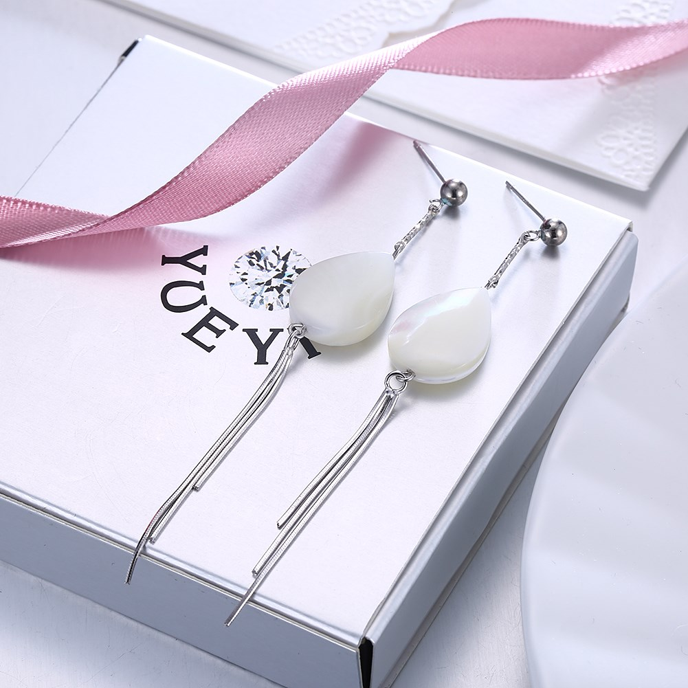 Platinum Plated  Drop Earrings NHKL10096