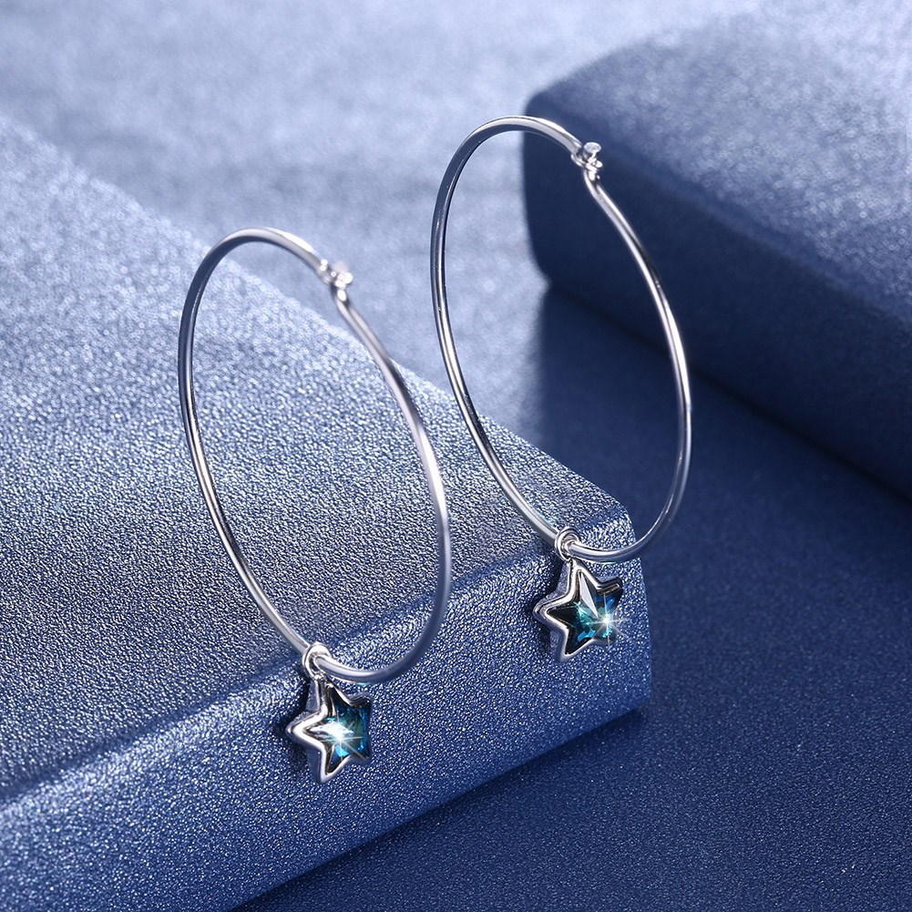 Platinum Plated  Hoop Earrings NHKL13145