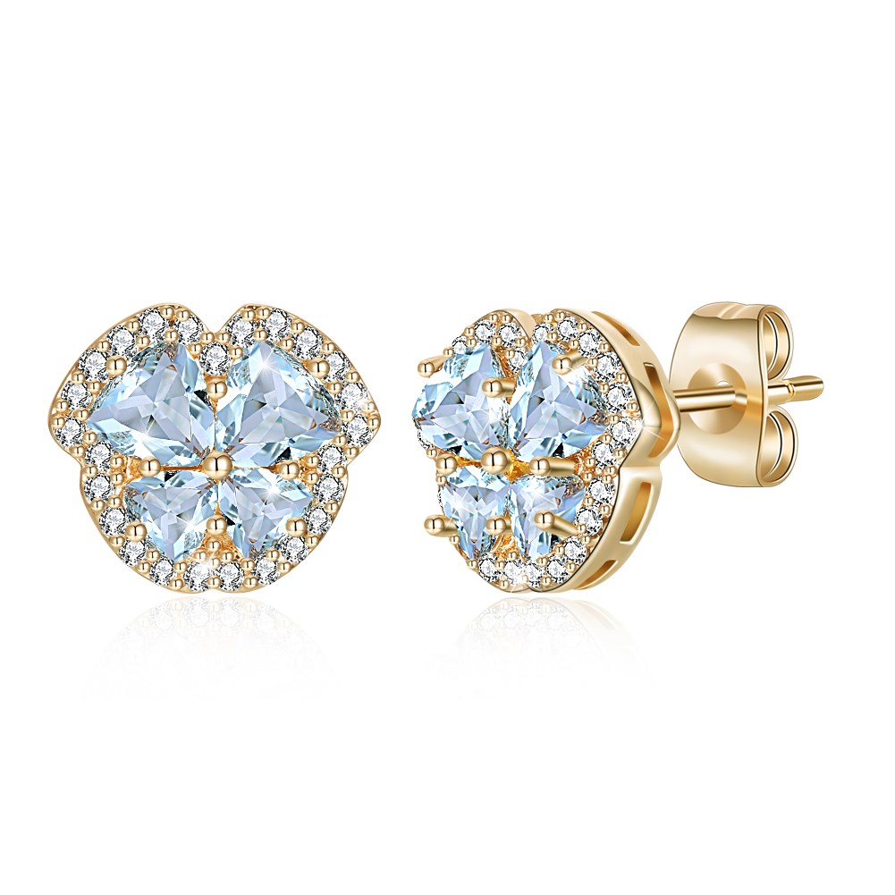 Fashion tri-color plating champagne gold earrings wholesale NHKL205329