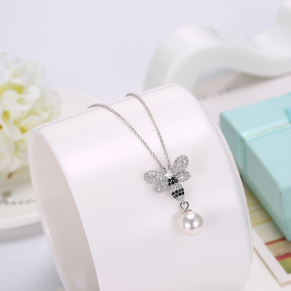 New Fashion S925 Sterling Silver Butterfly Crystal Pendant Necklace NHKL203789