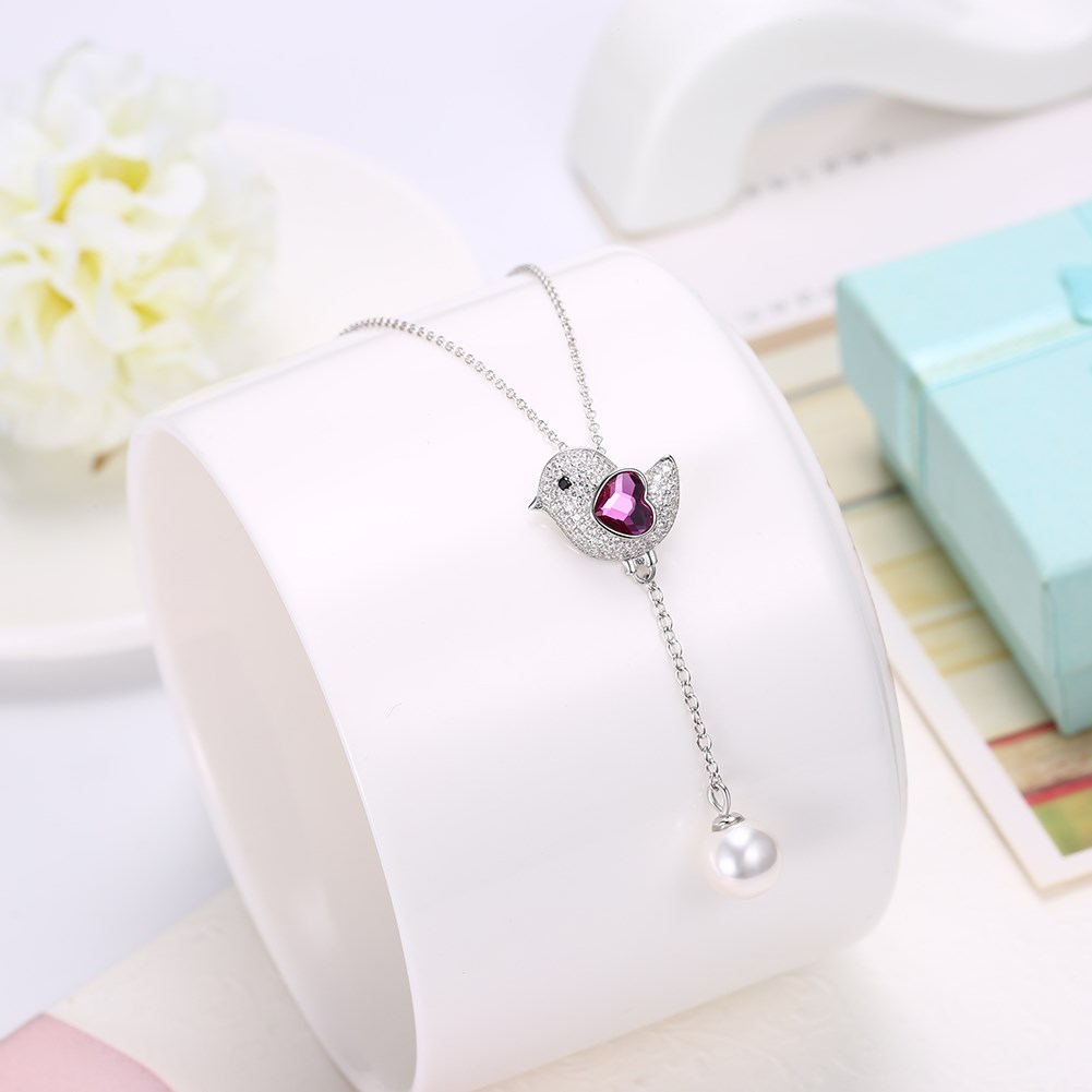 New Fashion S925 Sterling Silver Cute Bird Crystal Pendant Necklace NHKL203790