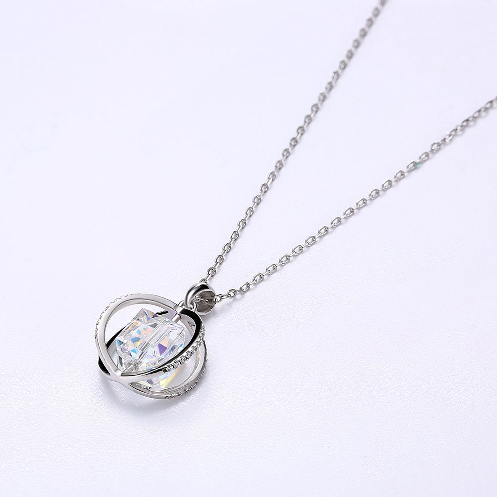 fashion new  S925 Sterling Silver Crystal Geometric Rotating Pendant Necklace  nihaojewelry wholesale NHKL233179