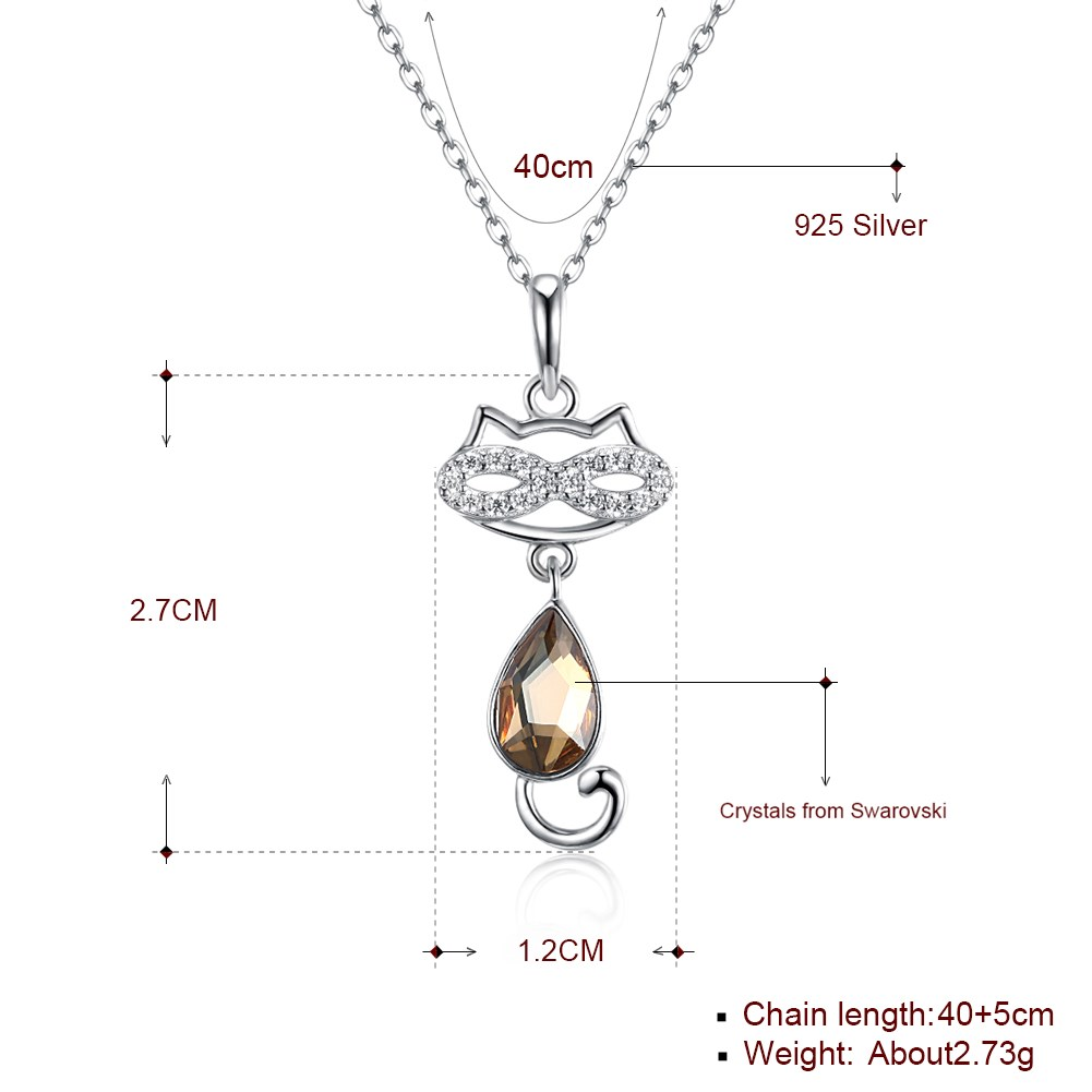 S925 Sterling Silver Cute Cat Crystal Pendant Necklace Wholesale NHKL205330
