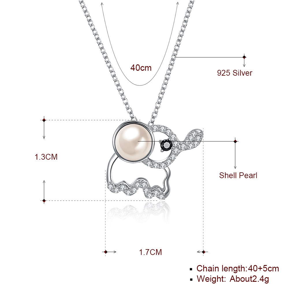 S925 Sterling Silver Cute Baby Elephant Crystal Pendant Necklace NHKL205331