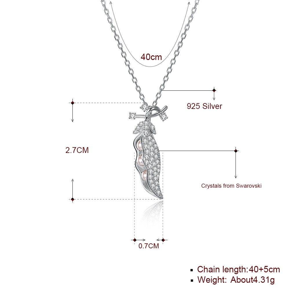 New Fashion S925 Sterling Silver Cute Lentil Necklace Wholesale NHKL203791