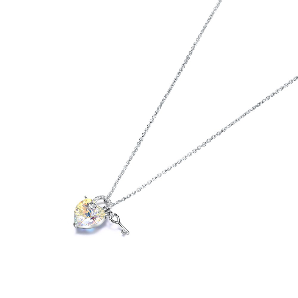 LAKANI from Swarovski Elements S925 Sterling Silver Fashion Classic Love Keyed Crystal Pendant Necklace NHKL189540