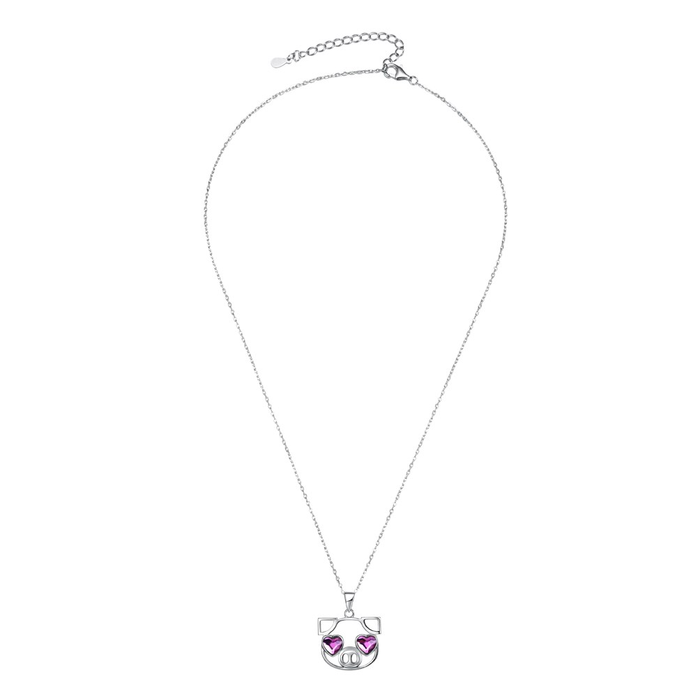 S925 Sterling Silver Cute Pig Pendant Necklace NHKL203809