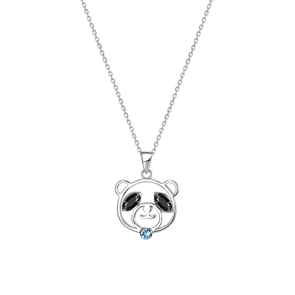 S925 Sterling Silver Cute Bear Pendant Necklace NHKL203810