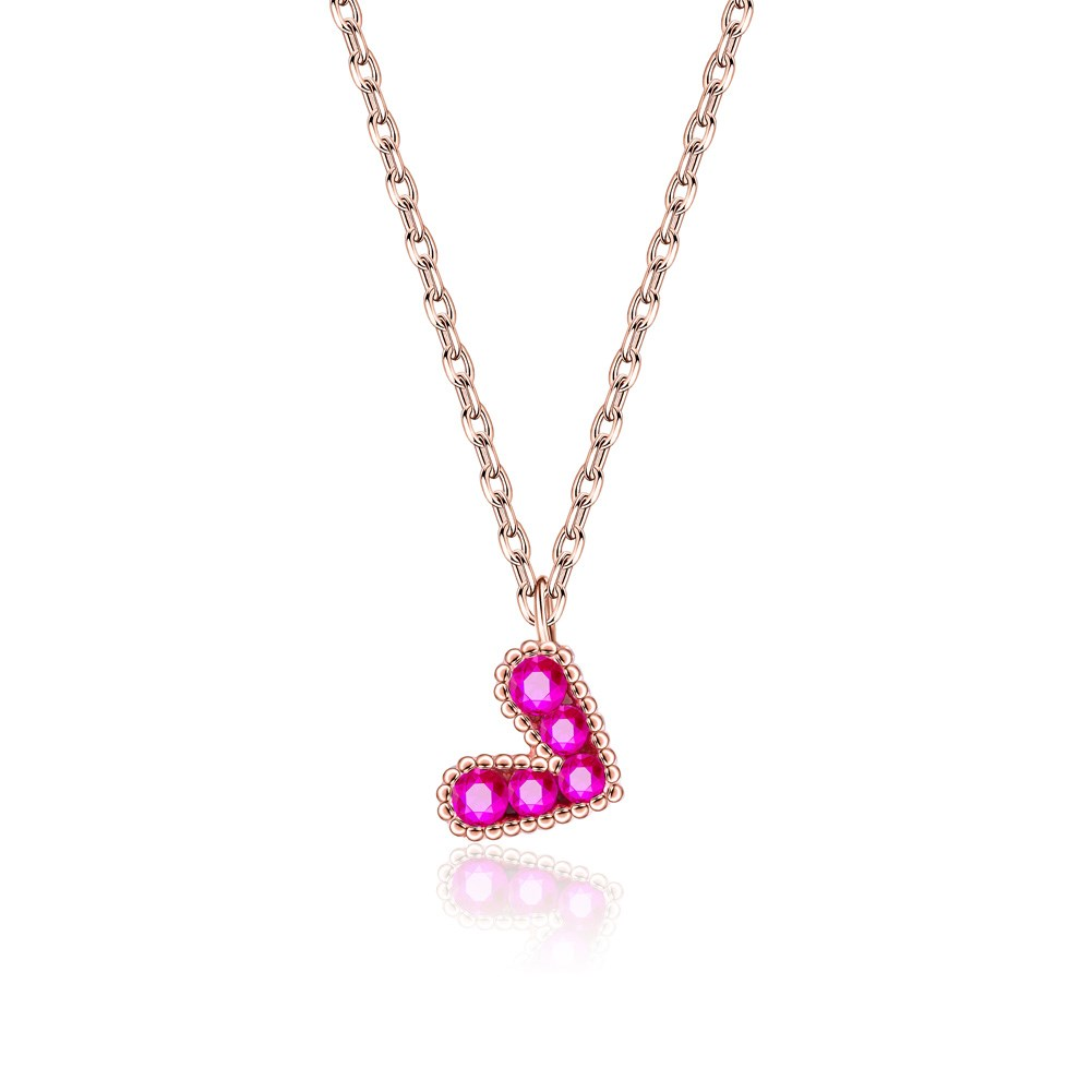 Single Button Love Heart Necklace in Sterling Silver NHKL200783