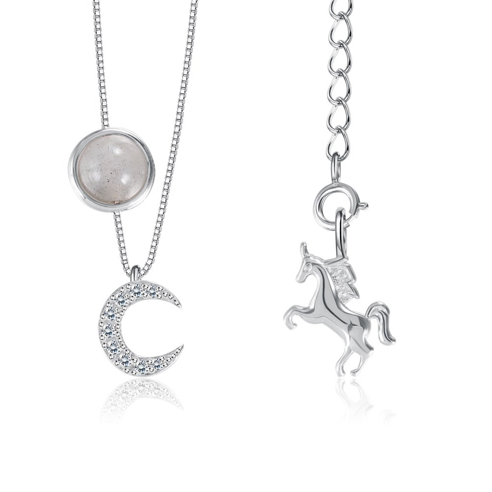 Grey Moonlight Moon Unicorn Necklace in Sterling Silver NHKL200792