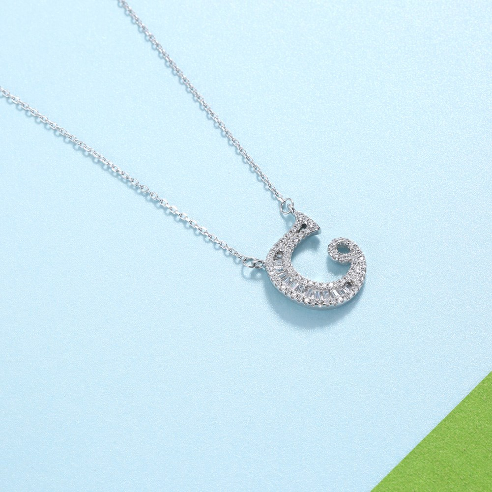 Fashionable 26 Letter Pendant Necklace in Sterling Silver NHKL200793