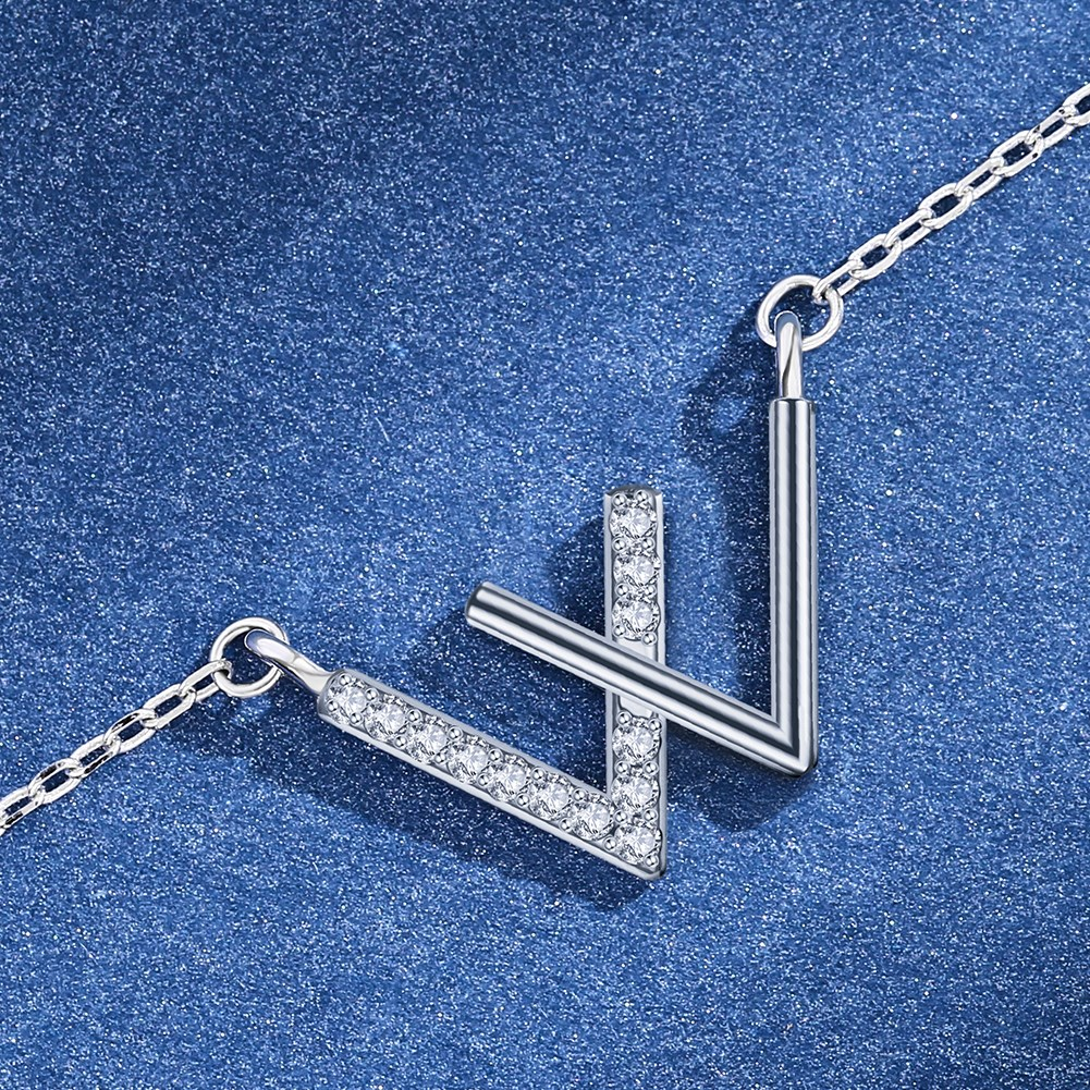 New Fashion S925 Sterling Silver Letter W Zircon Necklace NHKL210087