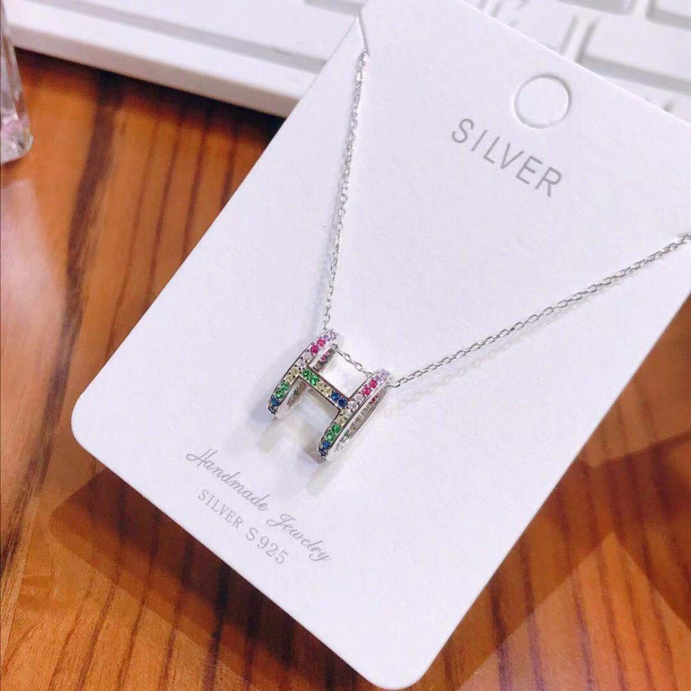 S925 sterling silver Seiko happiness is you and me, double-sided zirconium letter H necklace NHKL189541