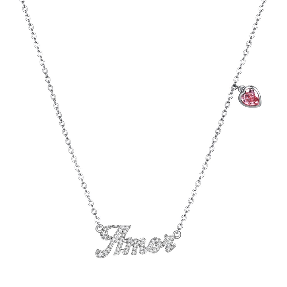 New Fashion S925 Sterling Silver Letter Amor Diamond Necklace Wholesale NHKL203793