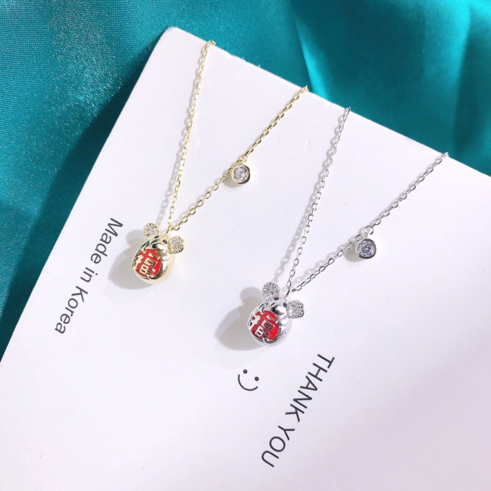 New Fashion Good Luck Cute Mouse Necklace Wholesale NHKL203832