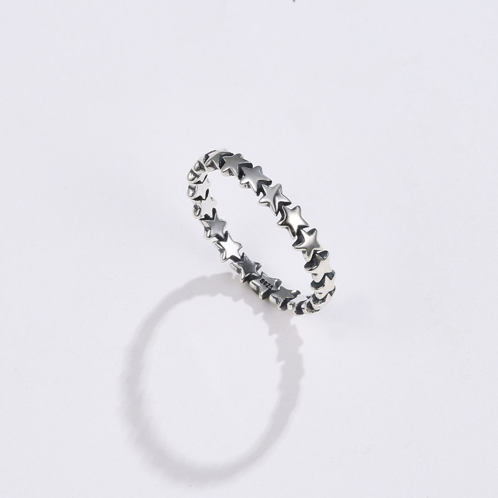 S925 silver European and American big-name style jewelry s925 silver sterling silver ring Stacking Starry sky ring NHKL189554
