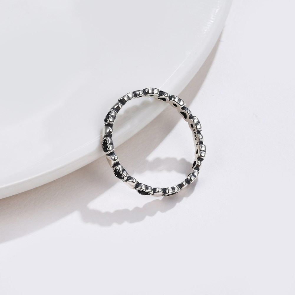 s925 silver ring love set with black stone ring NHKL189556