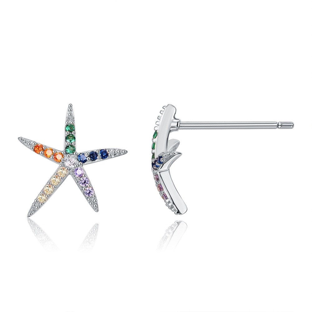 925 Sterling Silver Seiko Large Diamond Starfish Stud Earrings-C NHKL200825