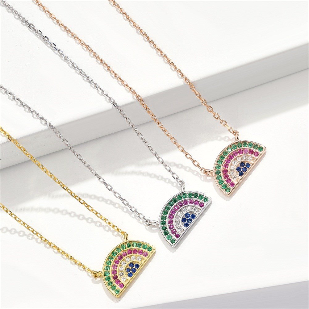 New fashion rainbow necklace yiwu jewelry supplier NHKL203822