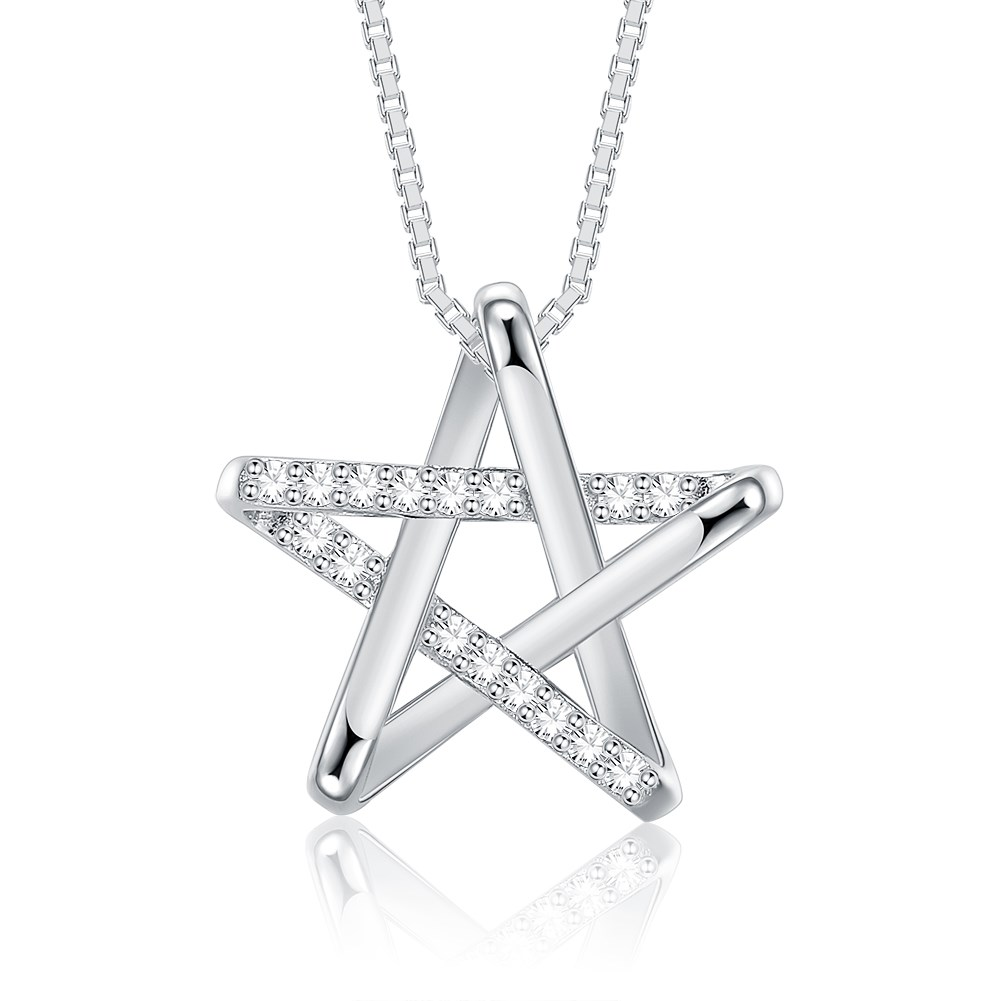 New Fashion 925 Sterling Silver Star Pendant Necklace wholesale NHKL233184
