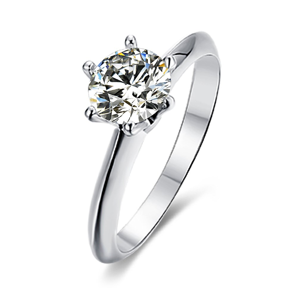 Micro-set S925 Silver Platinum Plated Moissanite Diamond 1 Carat Class D Ring NHKL245479