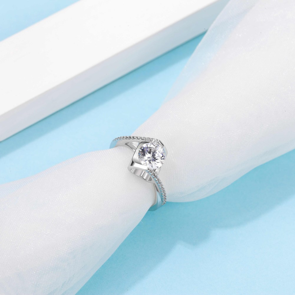 Angel  Kiss S925 Silver Platinum Plated Moissanite 1 Carat Class D Ring NHKL245480