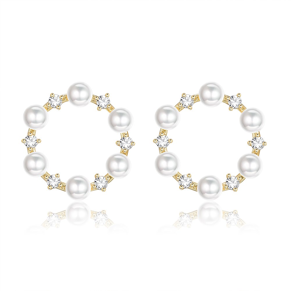 Fashion white fungus needle pearl  earrings NHKL262093