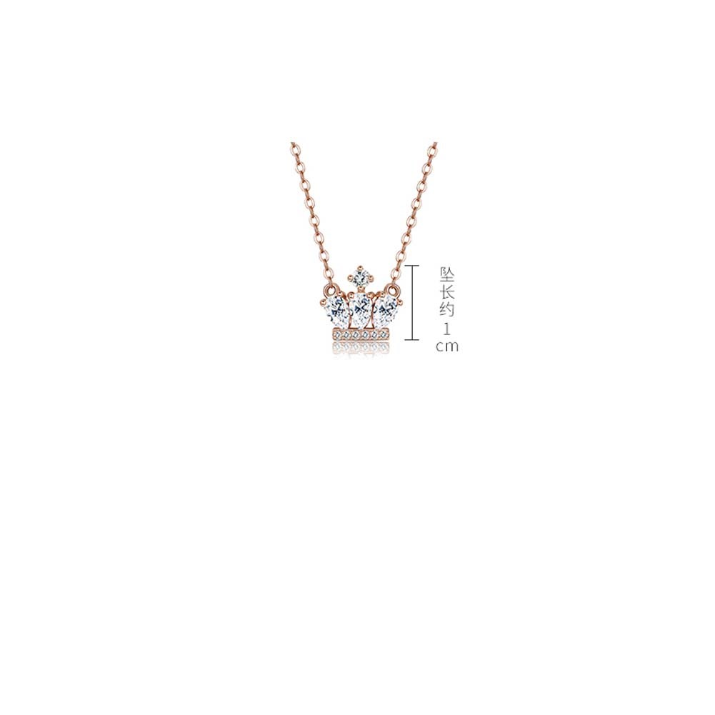 S925 Sterling Silver Fashion Crown Pendant Necklace NHKL274163