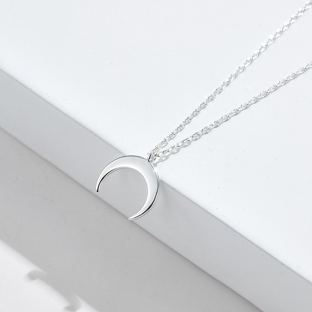S925 Sterling Silver  fashion Moon Pendant Necklace NHKL309307