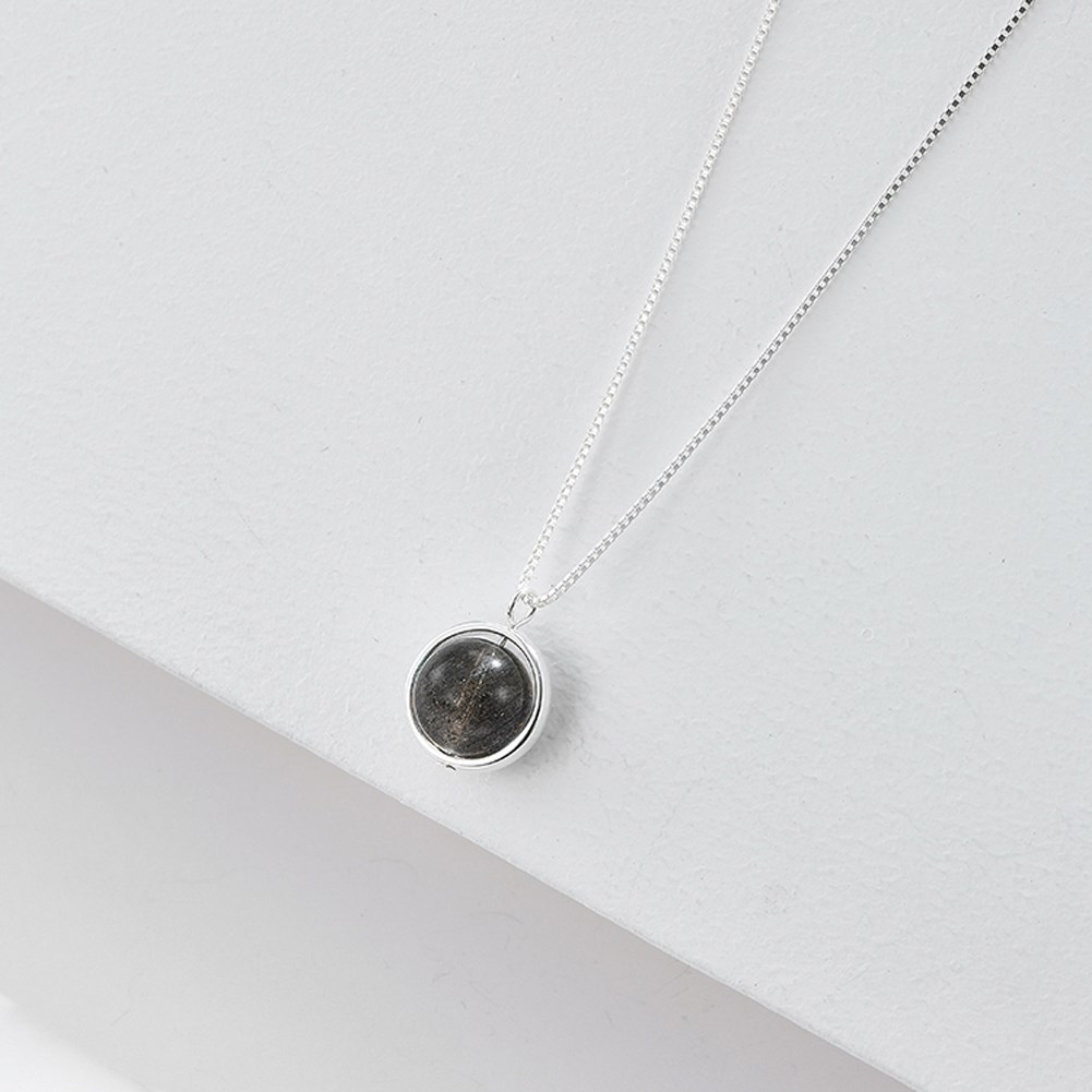S925 Sterling Silver Simple Gemstone Necklace NHKL309308