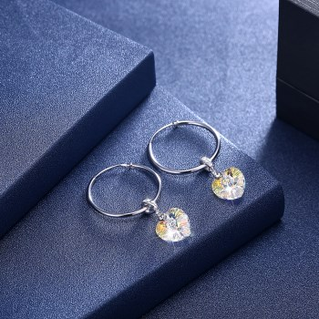 Platinum Plated  Hoop Earrings NHKL13323-C