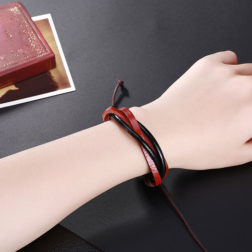 Europe and the United States punk wind retro woven cowhide bracelet FSH307 NHKL11290