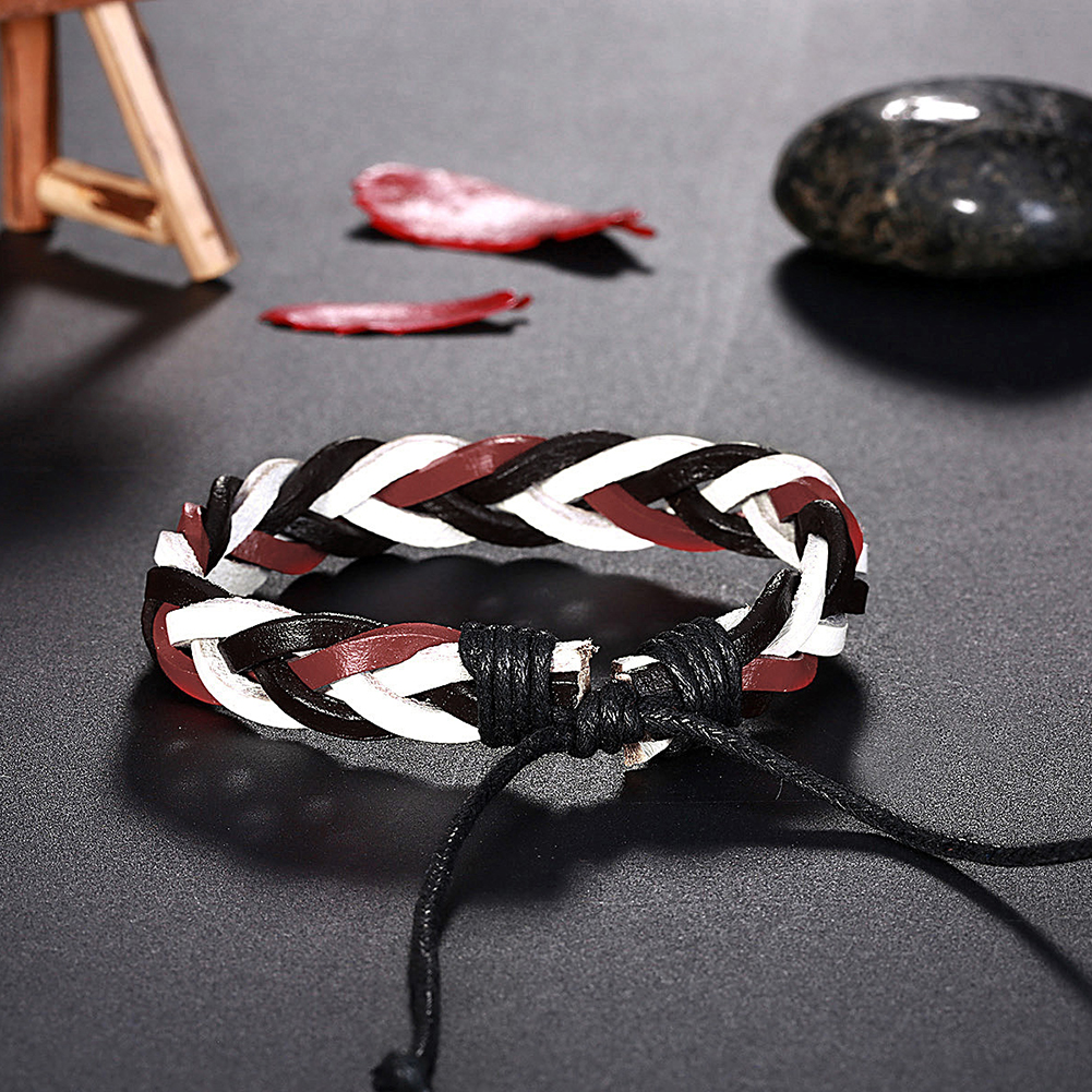 Europe and the United States punk wind retro woven cowhide bracelet FSH308 NHKL11291