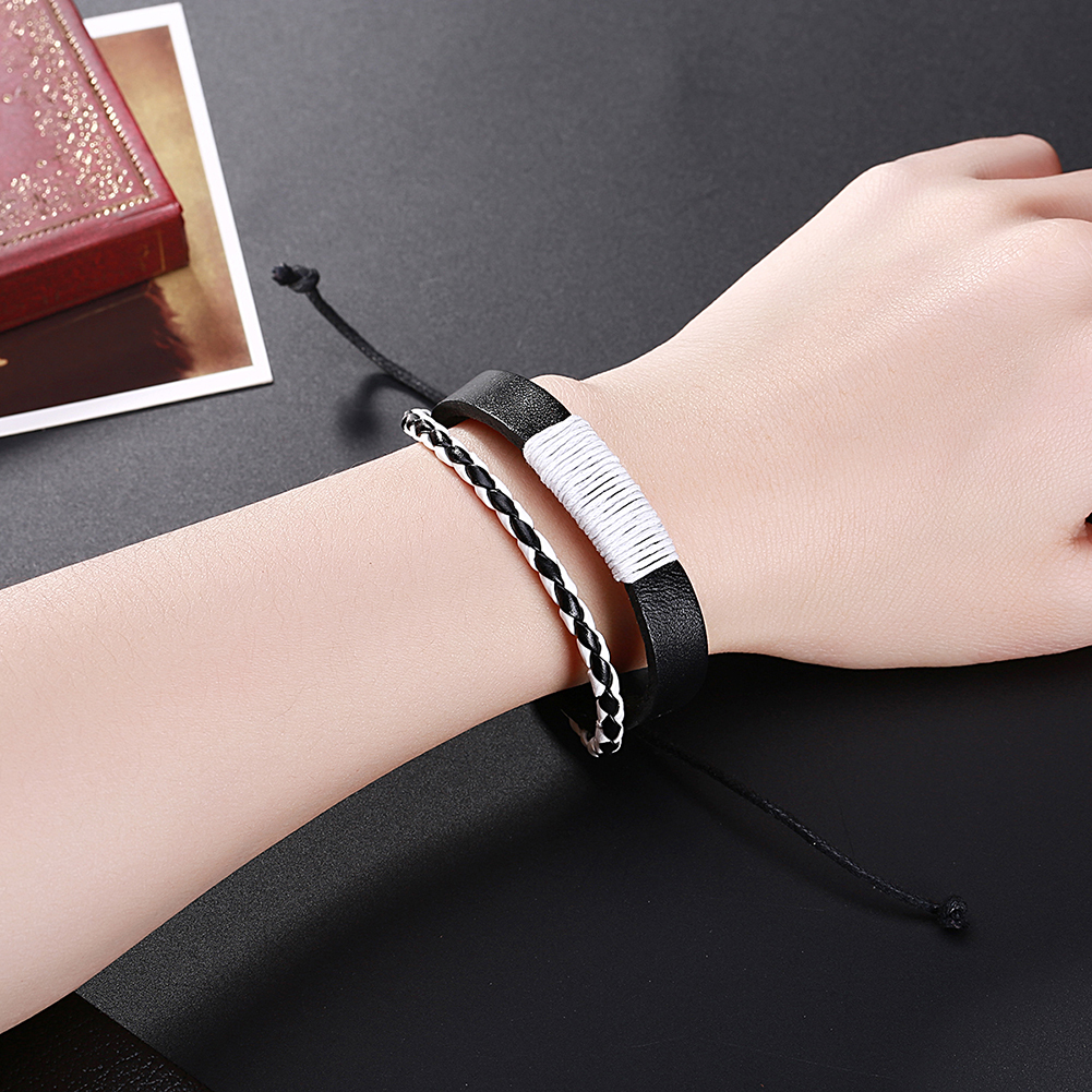 Europe and the United States punk wind retro woven cowhide bracelet FSH306 NHKL11289