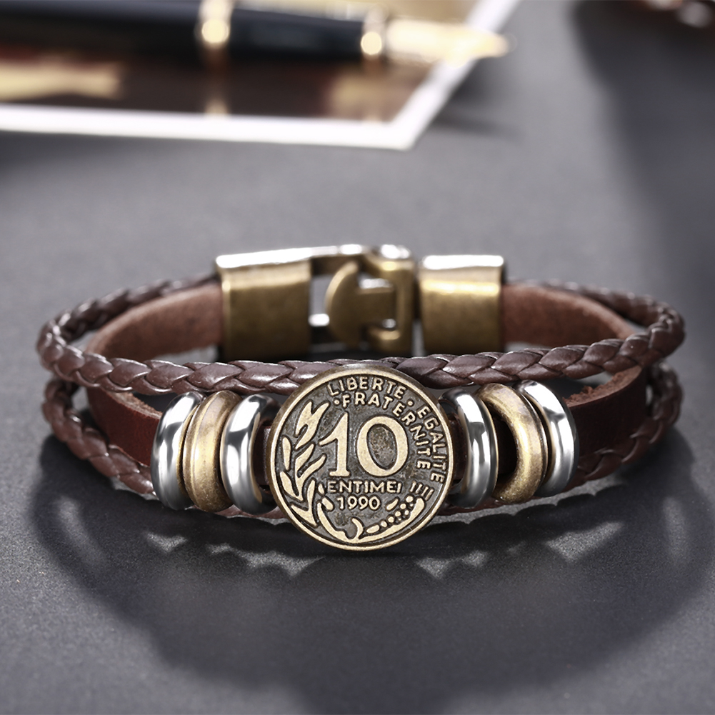 Europe and the United States punk wind retro woven cowhide commemorative coins bracelet FSH313 NHKL11296