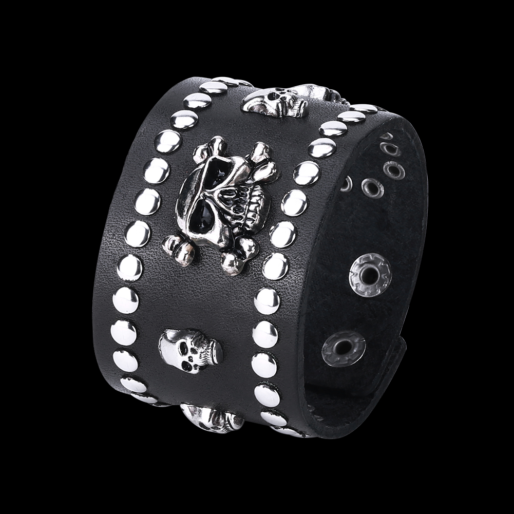 Europe and the United States punk wind retro woven cowhide skeleton bracelet FSH350 NHKL11333